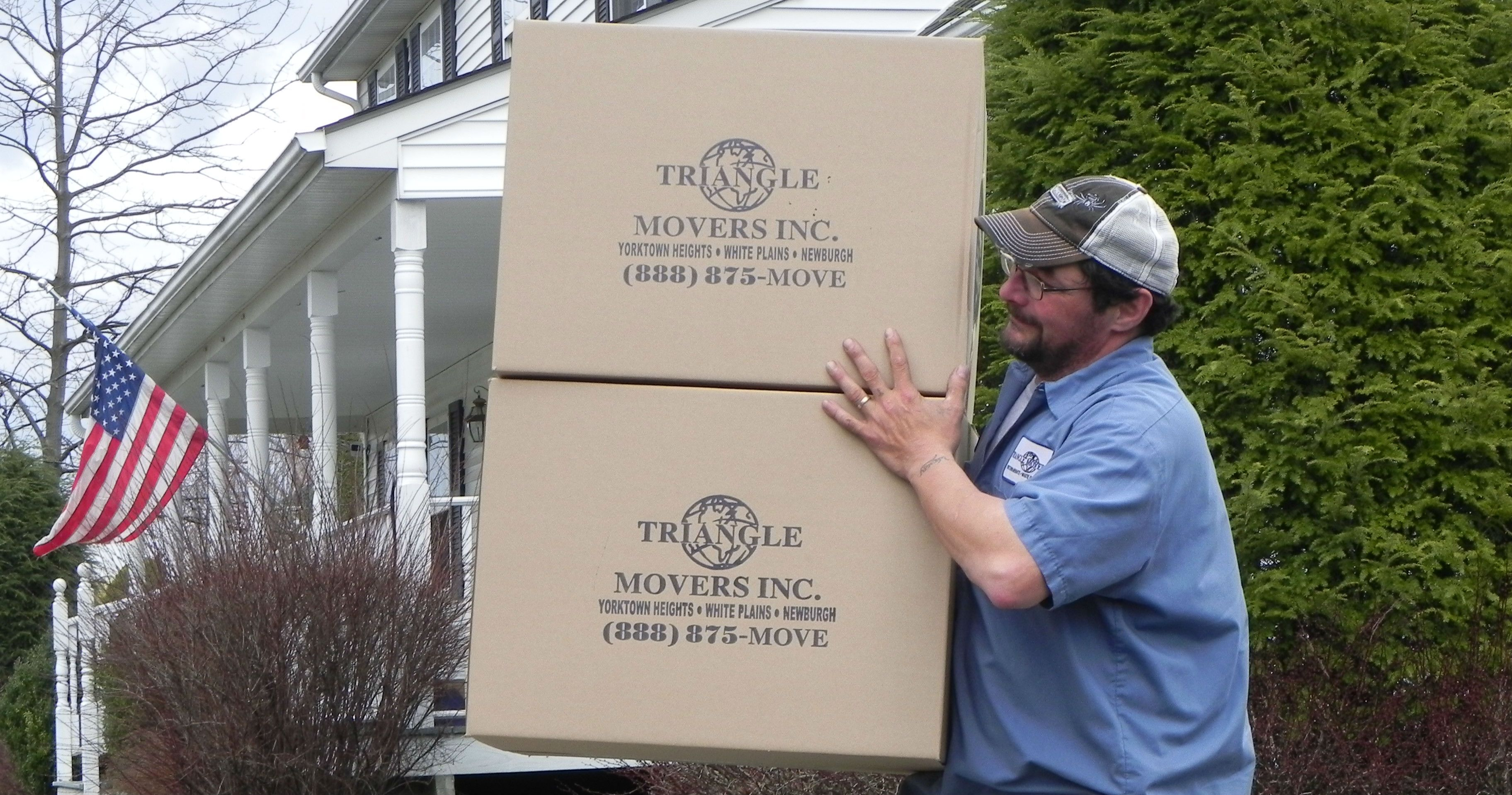 Triangle worker carrying a box